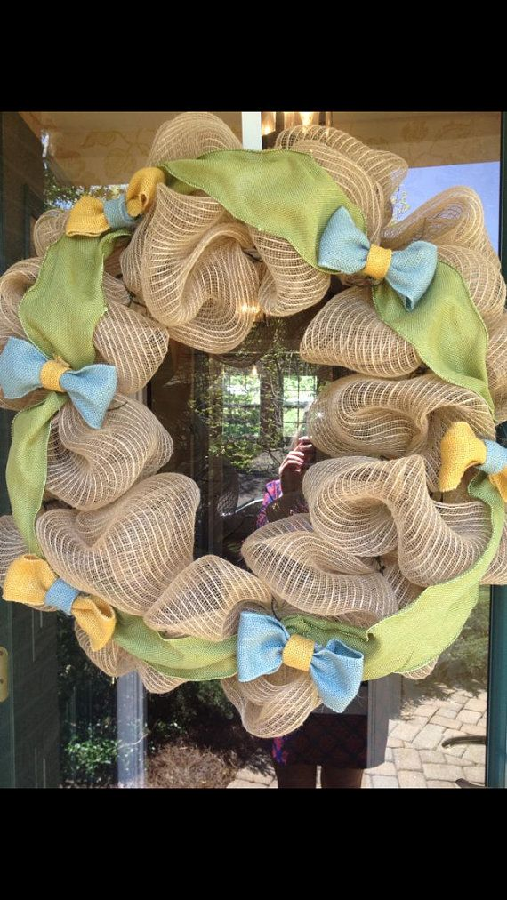 Bow tie themed wreath for baby shower or gift on Etsy, $60.00