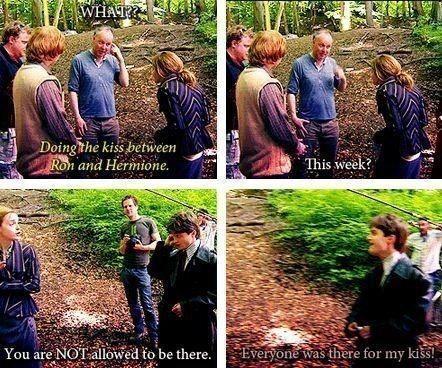 (harry potter,kiss,emma watson,daniel radcliffe,rupert grint,ron and hermione kiss,funny)