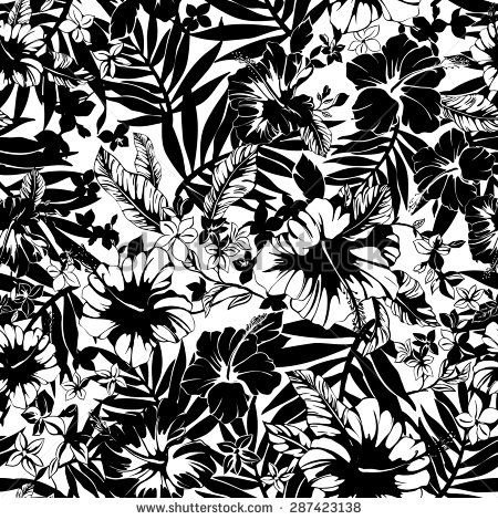 129 best black and white flowers background images on pinterest vector seamless black and white tropical hibiscus flower pattern with palm leaves buy this stock vector on shutterstock find other images mightylinksfo