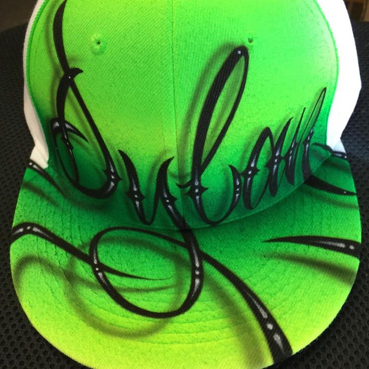 Sick airbrushing on this cap...notice the almost 3D graphics on the letters!! #Airbrush #AirbrushArtwork