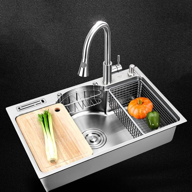 Kitchen Sink Stainless Steel Multifunctional Single Bowl Above