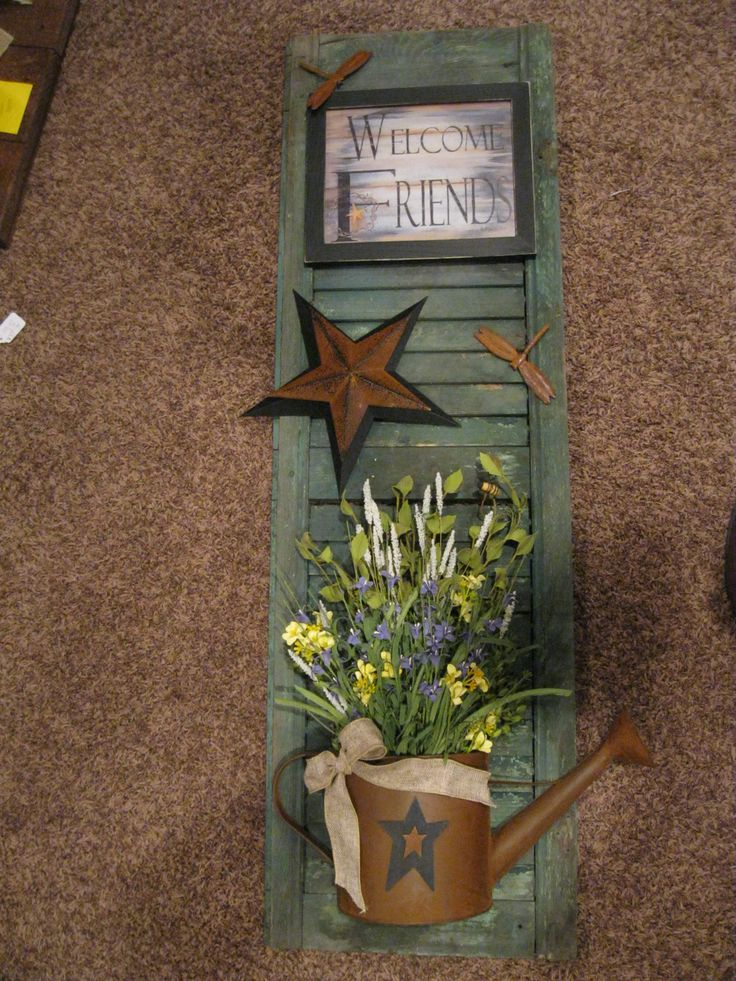 Pretty prim shutter to hang on a gardening shed ....would change wording on sign