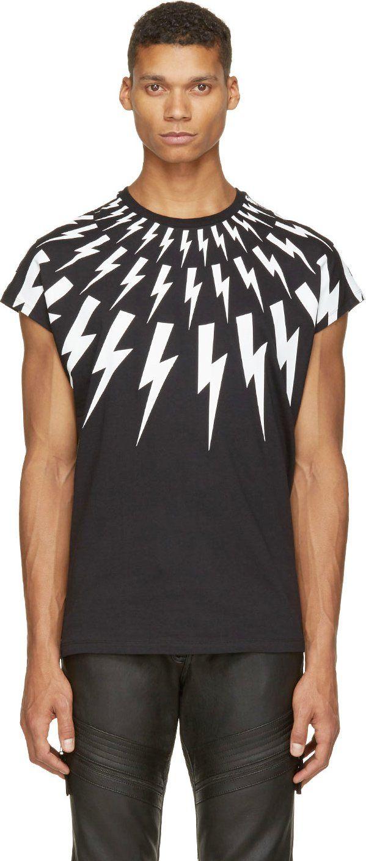 LIGHTNING CREWNECK TEE by NEIL BARRETT | https://www.ssense.com/men/product/neil_barrett/black-white-thunderbolt-sleeveless-t-shirt/154503
