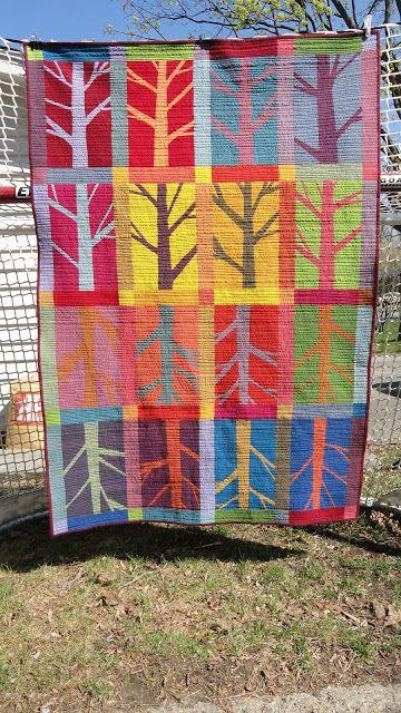Quiltmatters: Twelve Trees quilt, pattern by Helen Howes, using Kaffe Fassett shot cottons--beautiful!