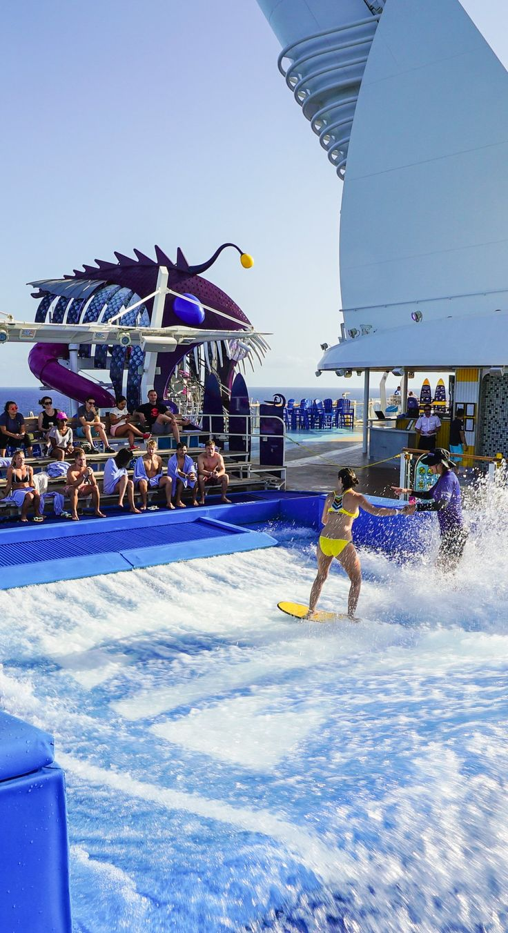 Harmony of the Seas | Go with the flow. Become a wave-riding master with just a few lessons on the Flow Rider, Royal Caribbean's exclusive surf simulator. Enjoy this one-of-a-kind experience of surfing on the top deck at sea when you cruise with Royal Caribbean on Harmony of the Seas.