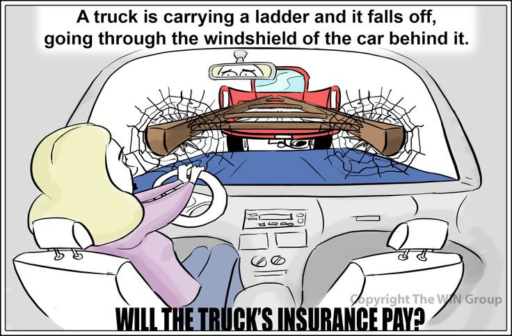 Trivia Question: You are carrying a ladder in your truck. It falls off while you're driving and goes through the windshield of the car behind you. Will your truck's insurance cover the damage?