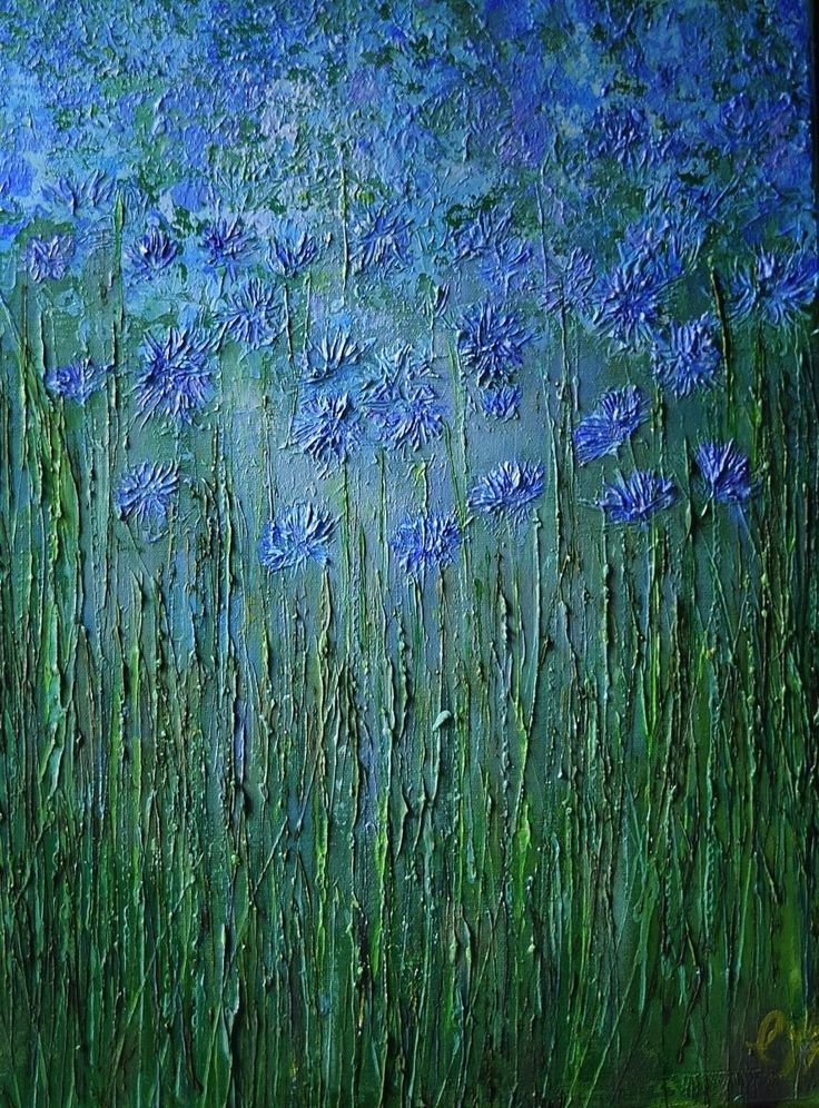Cornflowers: A field of blue flowers and grasses . The work is acrylic on canvas, the paint was applied with a palette knife and has a textured surface and extends around the sides of the canva...