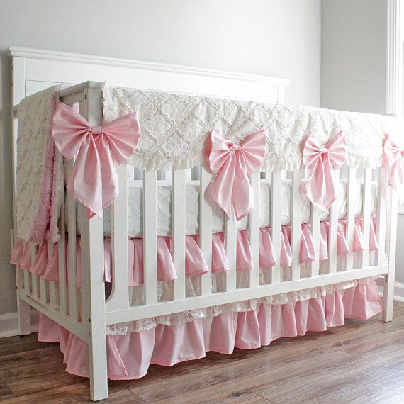 Baby Pink And Ivory Minky Lattice Lace Baby Girl Crib Bedding
