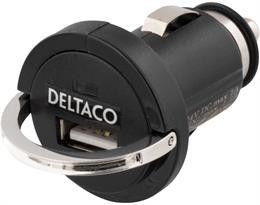 DELTACO strømadapter fra cig-uttak. 12~24V til 1x USB 5V 1,2A, svart | Satelittservice tilbyr bla. HDTV, DVD, hjemmekino, parabol, data, satelittutstyr
