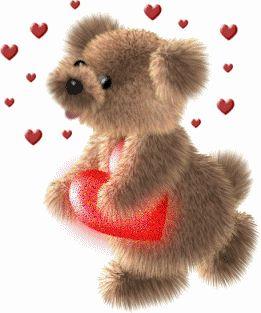 Ver imagen de osito enamorado junto a corazón rojo con movimiento y brillo