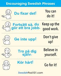 Encouraging Swedish phrases