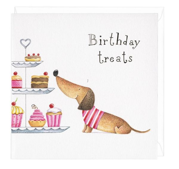 Wish a 'Happy Birthday' to the dachshund-lover in your life with this quirky and unique greetings card design. Created by Rachael Baines, this adorable daxie ca