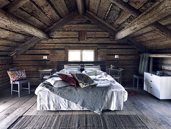 attic bedroom with wood walls #countrycozy