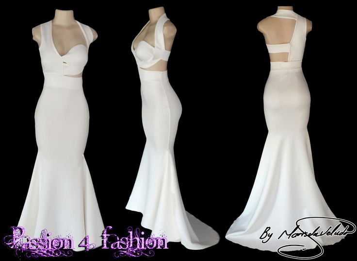 Ivory soft mermaid matric dance dress with a halter neck effect and back strap design.