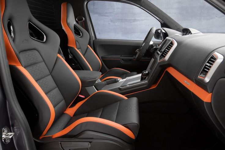 Volkswagen Amarok Power concept. On the inside, the Amarok Power features black-and-orange Nappa leather, an Alcantara-trimmed steering wheel, special carbon leather trim, and laser-etched seat-fabric graphics.