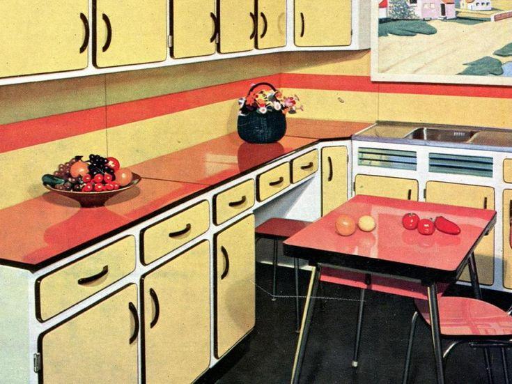 cuisine en formica en couleur - Cuisine Retro Annee 50