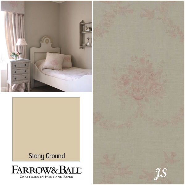 Kate Forman Inspiration by Joanne Sandford - Paint: Stony Ground (Farrow & Ball) Curtain Fabric, Bed Linen and Cushions: Pink Sophia