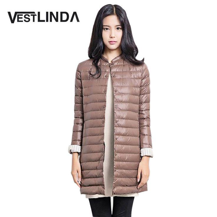Vestlinda 2016熱い販売カジュアルコート女性の冬女性の雪暖かいジャケットロング薄いアヒルダウンコート用laides