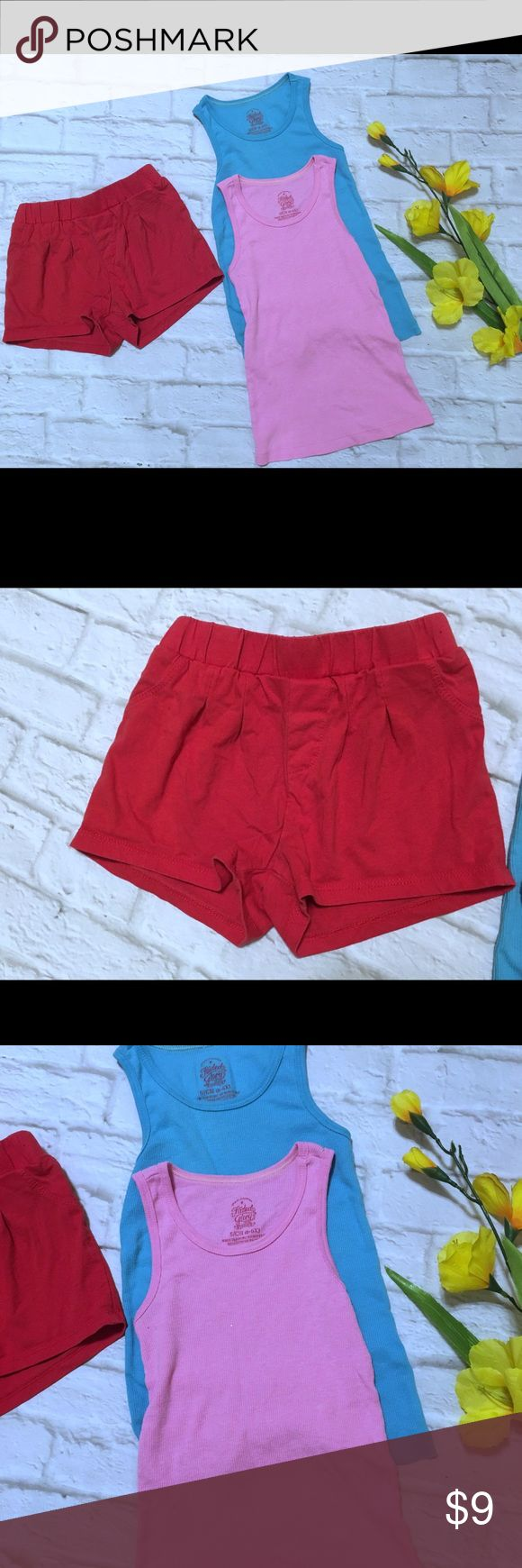 Girls Summer Mix Lot All items are included  Summer time mix Lot set includes 2 tops & one pair of red shorts. All size 6X Shirts & Tops Tank Tops