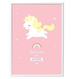 A Little Lovely Company Unicorn Poster: Unicorn on a pink background with the text quote 'Believe in unicorns'. Adorable for any kids room or playroom and would also make a fun gift for certain big kids too.