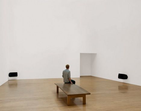 Installation view of Turner Prize winner Susan Philipszs Lowlands at Tate Britain October 2010 photograph of a white gallery with two audio ...