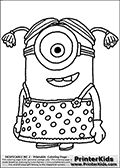 Coloring page with a Minion from Despicable Me and Despicable Me 2. This coloring page for printing show a Despicable Me Minion wearing a dress and wig with ponytails. Print and color this Despicable Me page that is drawn by Loke Hansen (http://www.LokeHansen.com) based on an image found online from one of the two movies.
