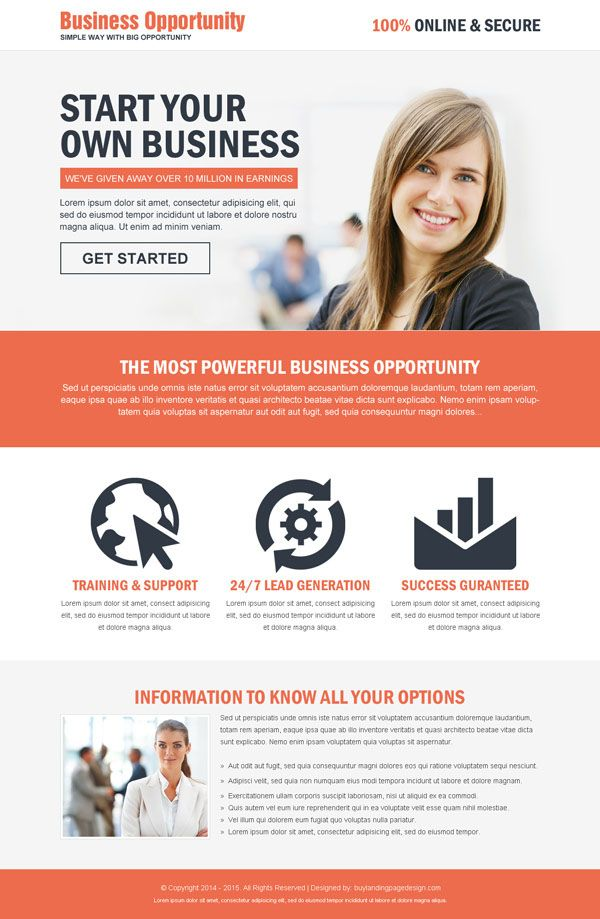 the most powerful business opportunity landing page design