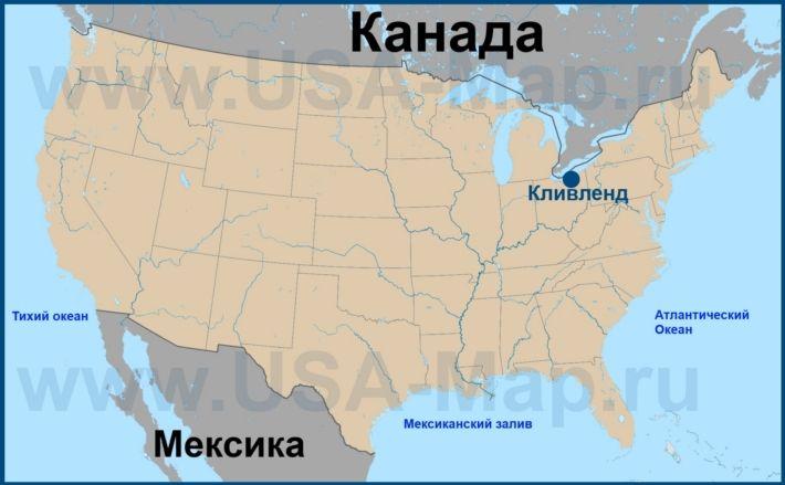 Кливленд на карте США
