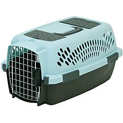 Petmate Pet Taxi Fashion Blue/Coffee (Small)  Take your small dog or cat anywhere in great comfort for both of you. The Petmate Pet Taxi Fashion offers your pet cool ventilation through all 4 sides. A quick-latching front door gives you easy access. Carry treats and toys in the 2 storage compartments. Features eyelets for an adjustable shoulder strap that will make the Pet Taxi Fashion easy to carry.