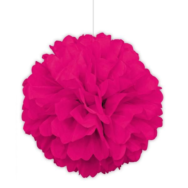 16 Large Puff Ball Hot Pink Decorations 1 Ct Hot Pink Decor Tissue Paper Pom Poms Paper Pom Pom