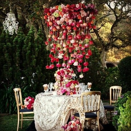 Floral chandelier!!! Bebe'!!! Beautiful centerpiece!!!