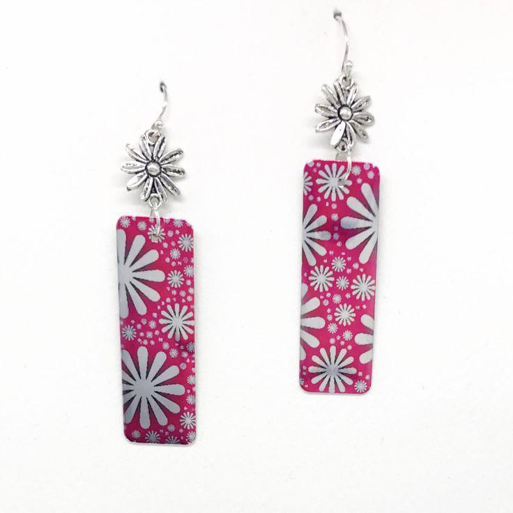 Pink Silver Shiny Daisy long drop handmade earrings  Aluminium Vivid Sister by VividSister on Etsy https://www.etsy.com/au/listing/530871904/pink-silver-shiny-daisy-long-drop