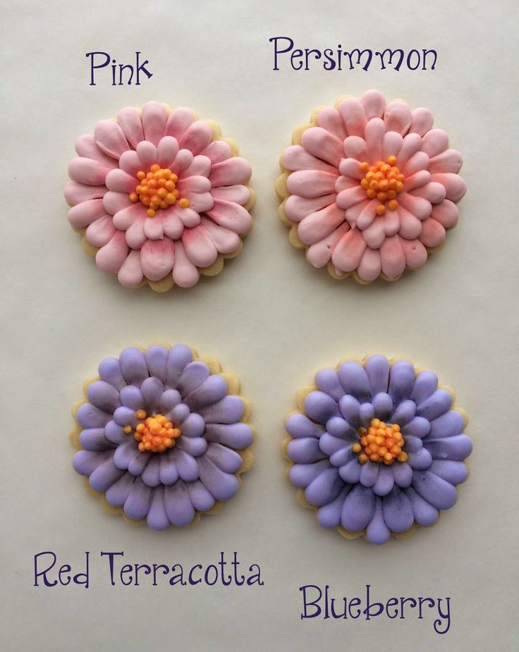 Cookies with Character: Zinnia Flower Cookies - the different wilton lustre dusts on the petals