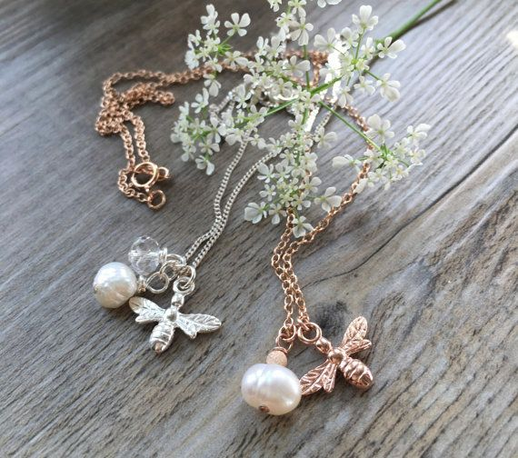 Rose Gold/Sterling Silver Honey Bee Necklace (free gift box with this item)
