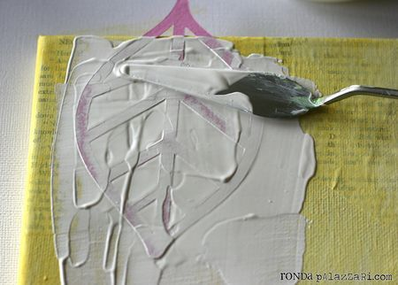 technique: Ronda Palazzari Simplicity Canvas 1- some tips on creating texture, interest, and why the first layer of paint (which you won't really see when its all done) should POP