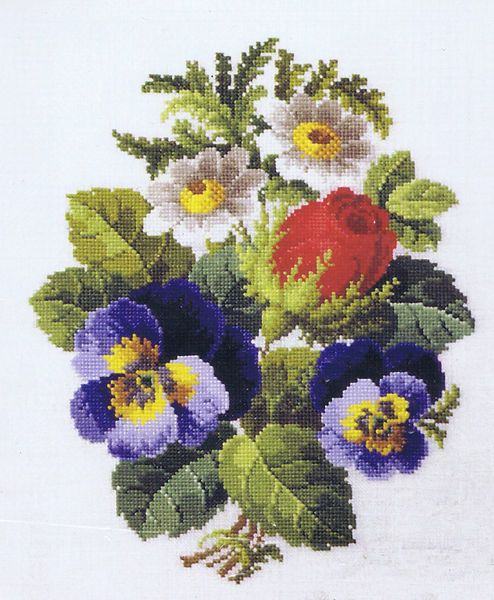 A lovely, traditional picture of a red rosebud, blue pansies and white daisies.