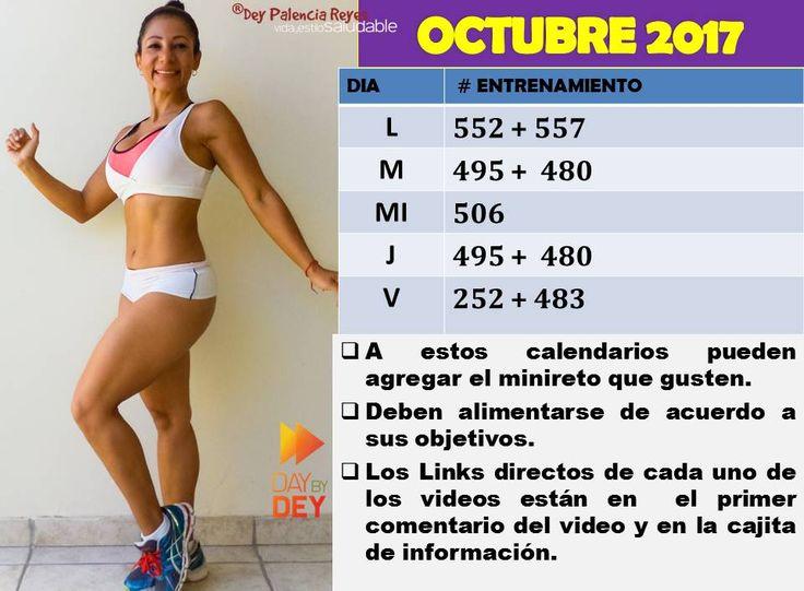 Calendario de entrenamiento Octubre 2017 con Dey Palencia Reyes.
