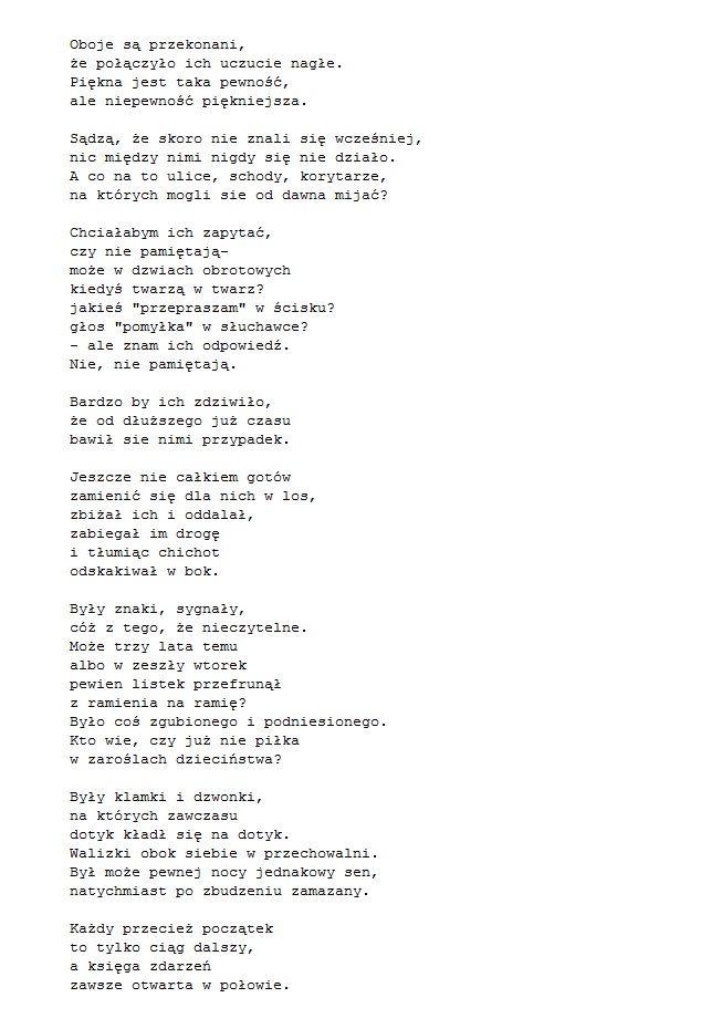 Wisława Szymborska 'Miłość od pierwszego wejrzenia'