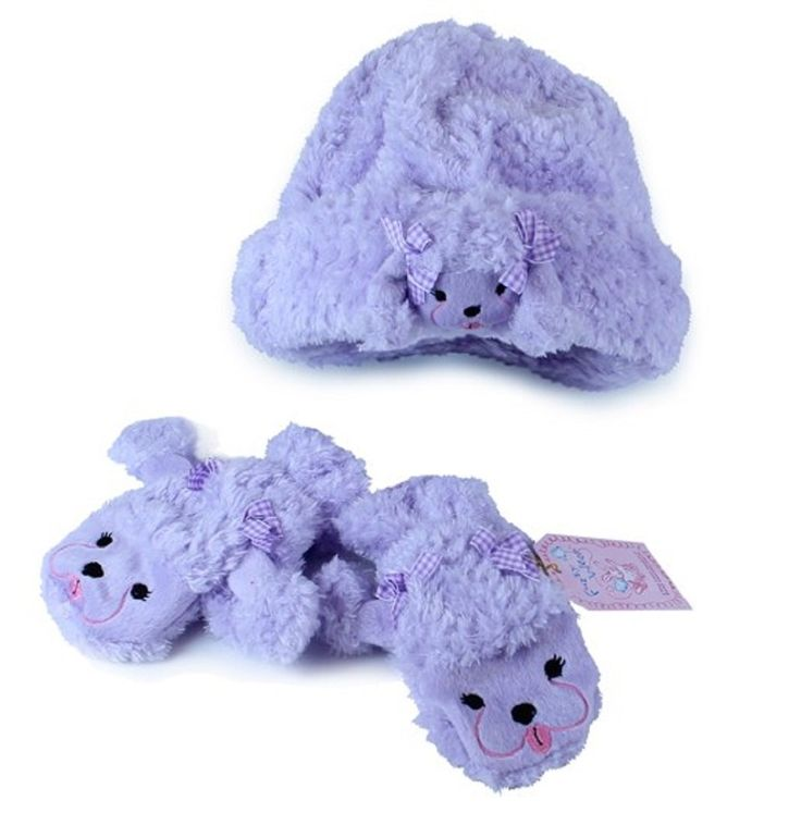 Fuzzy Wear Purple Poodle Hat with Mittens Set 18-24 months. Complete Set- Comes With Hat and Mittens. Fully Lined for Warmth. Fashionable and Functional.