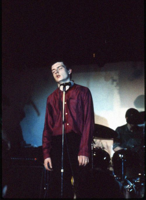 Joy Division: Ian Curtis, at the band's only show in Paris at the Bains Douches Club, photo by Danny Dupic, December 1979