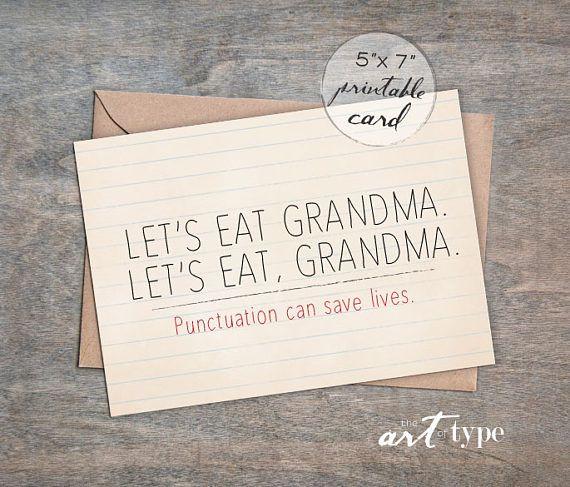 Grandma Card Let's eat Grandma INSTANT DOWNLOAD 5x7 DIY