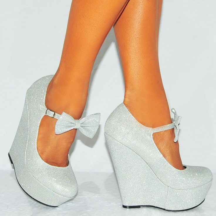 Ladies Silver Sparkly Metallic High Heels Wedges Glitter Wedged Bow Detail Shoes Platforms (UK4/EURO37)