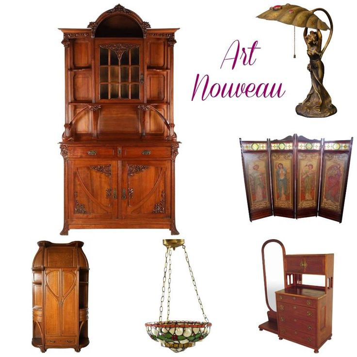 Authentic Art Nouveau Furniture & Lighting at Ruby Lane www.rubylane.com @rubylanecom #vintagebeginshere