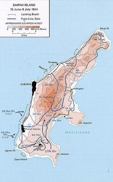 Battle of Saipan map