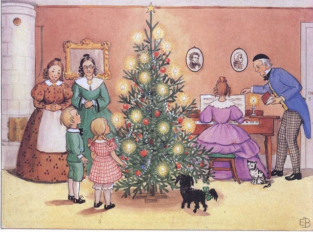 Celebrating Christmas from 'Aunt Brown, Aunt Green & Aunt Lavender' (Tant Brunt, Tant Grön & Tant Gredelin)    Story & illustrations by Elsa Beskow