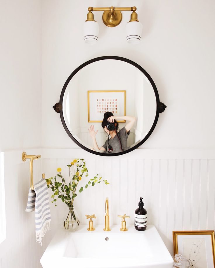 New Darlings Hallway Bathroom Makeover - Black and white modern retro style