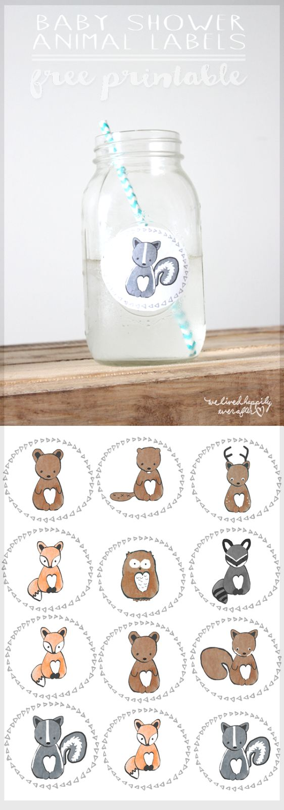 Free Forest Animal Mason Jar Baby Shower Label Printables