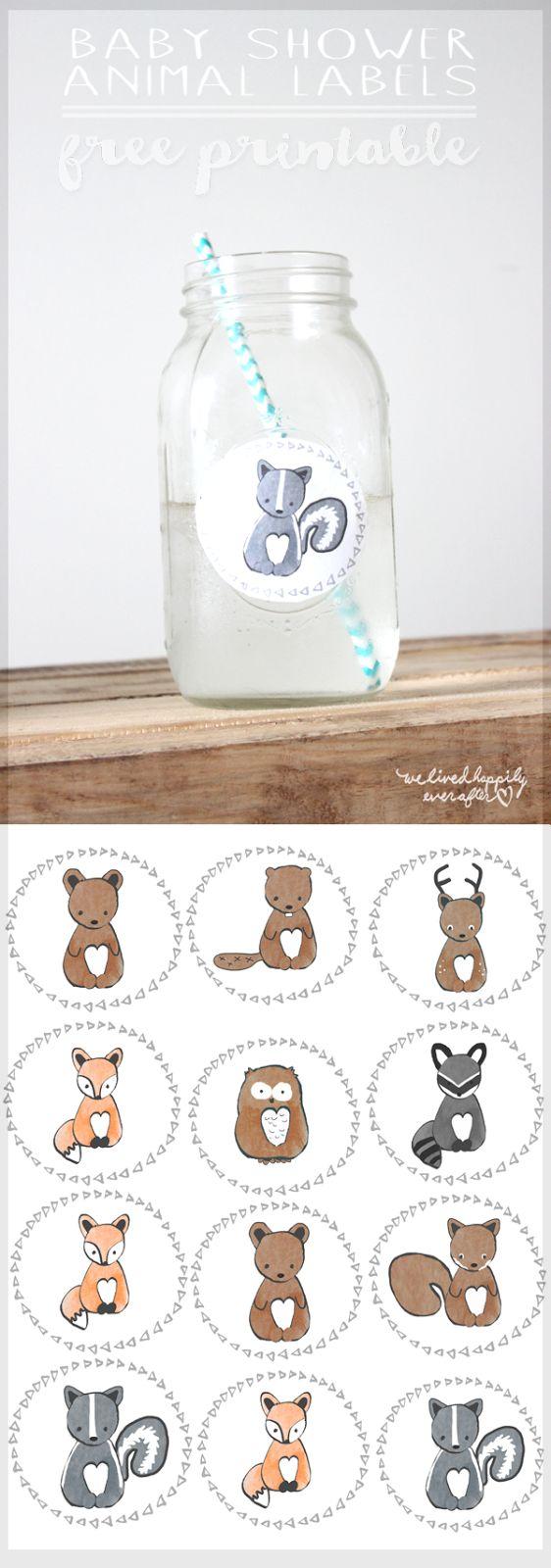 Free Forest Animal Mason Jar Baby Shower Label Printables