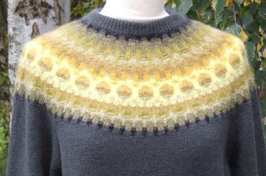 Original design by Kirsten Olssen. The challenge in Bohus knitting is that this intricate colorwork is knitted in a small gauge, requiring knitters to balance small needles while also dropping and picking up different colored strands of yarn — sometimes four or five colors in the same row.