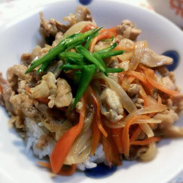 今夜は豚丼です! 新玉ねぎとにんじんも入ってますが北海道風の味付けです♪  新玉ねぎが美味しい季節って幸せですね。 - 14件のもぐもぐ - 豚丼 by Iwachaki